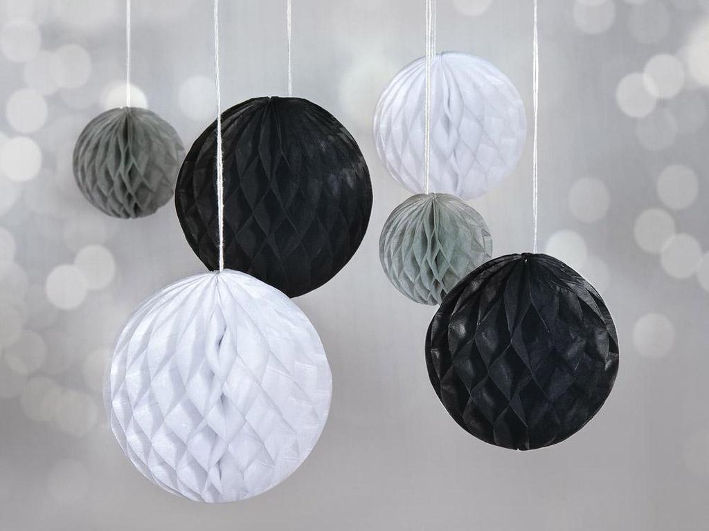 Dekoratyvus rutulys iš popierinio koriuko Rayher pakabinamas 5-10cm 6vnt. juoda/balta/pilka