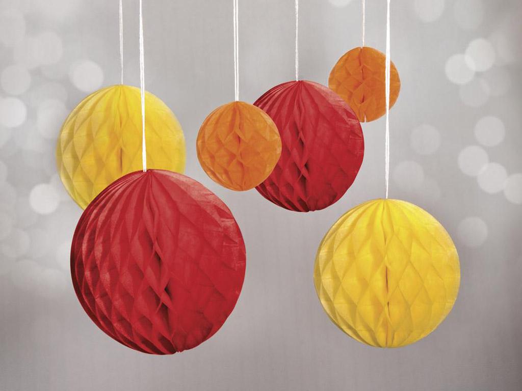 Dekoratyvus rutulys iš popierinio koriuko Rayher pakabinamas 5-10cm 6vnt. raudona/geltona/oranžinė