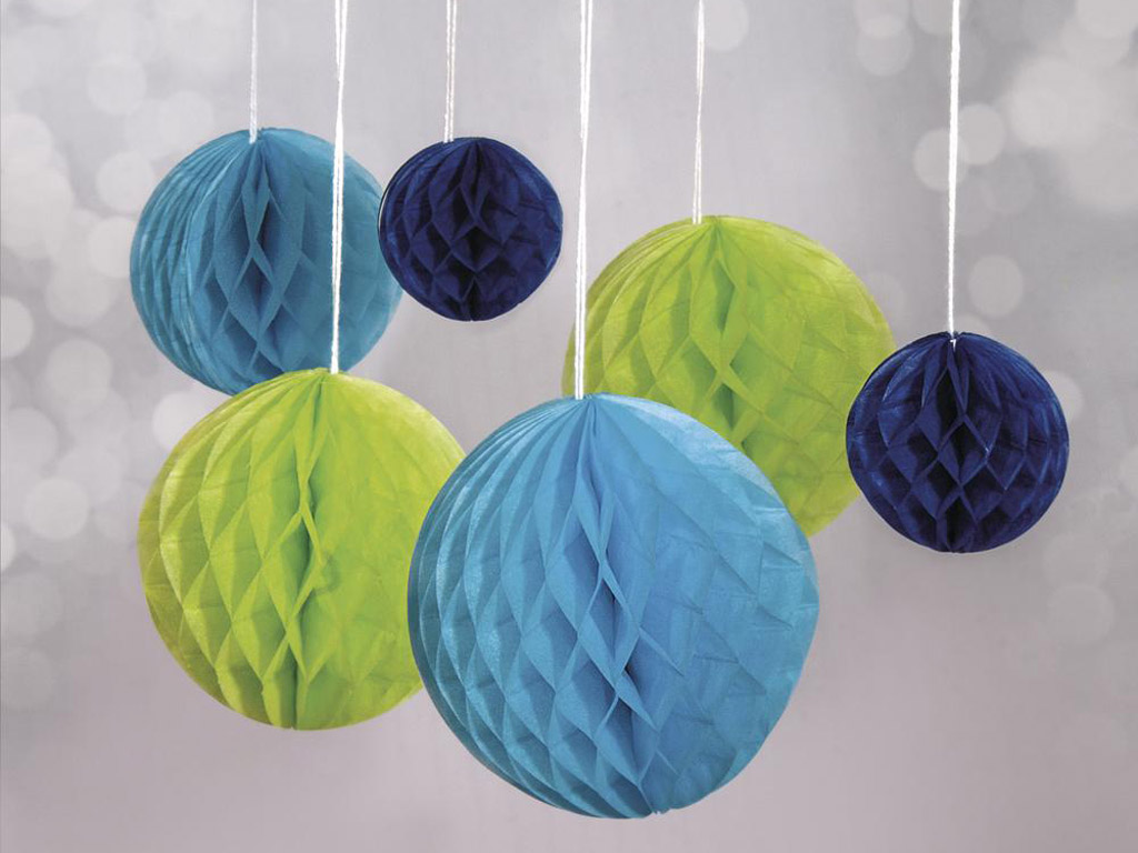 Dekoratyvus rutulys iš popierinio koriuko Rayher pakabinamas 5-10cm 6vnt. šviesiai žalia/žydra/tamsiai mėlyna