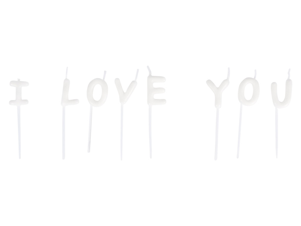 Žvakė tortui Rayher I Love You 2x7.7cm 8 raidės balta
