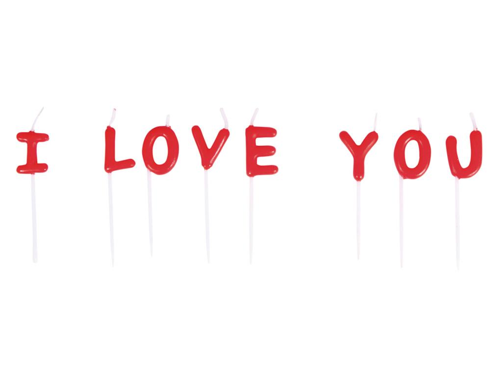 Žvakė tortui Rayher I Love You 2x7.7cm 8 raidės raudona