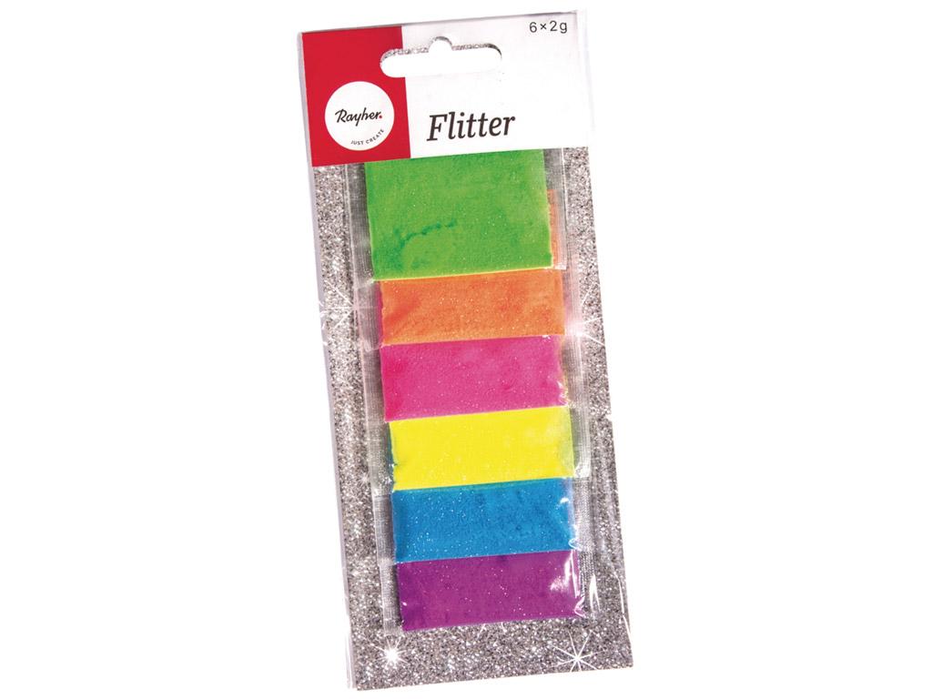 Blizgučiai Rayher 6x2g 6 spalvų įvairi neoninė spalva