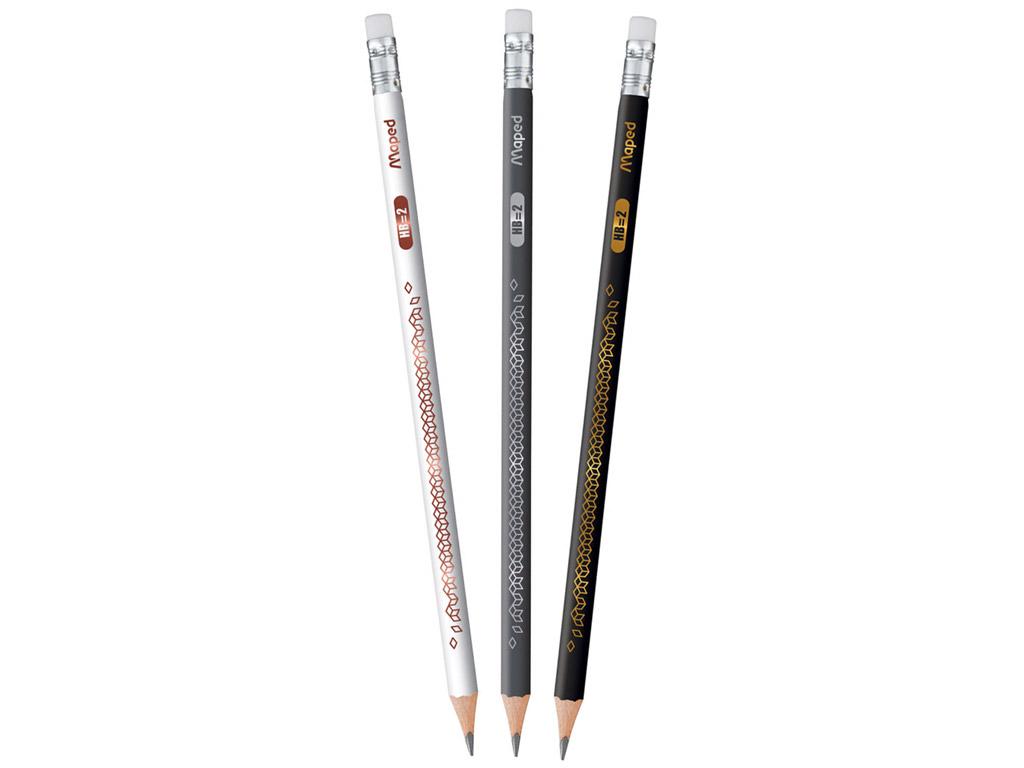 Parastais zīmulis BlackPeps Deco trijst. HB ar dzēšgumiju asorti