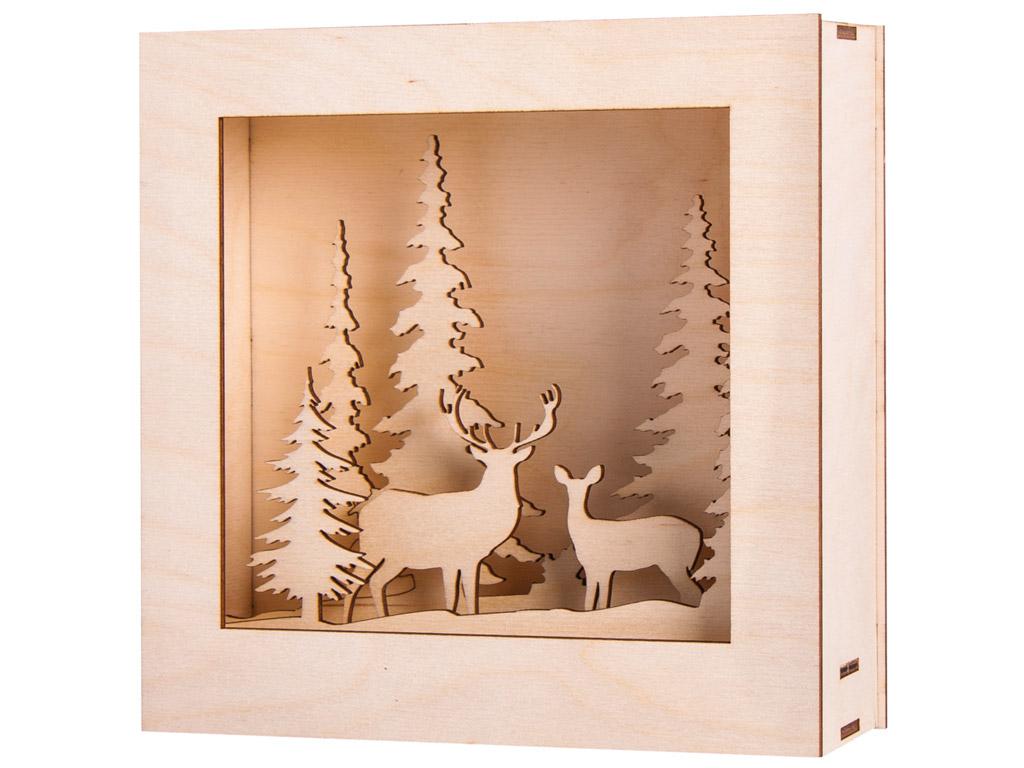 3D medinės figūrėlės-šviečianti dėžutė Rayher Winterland 20x20x6.6cm 14 dalių