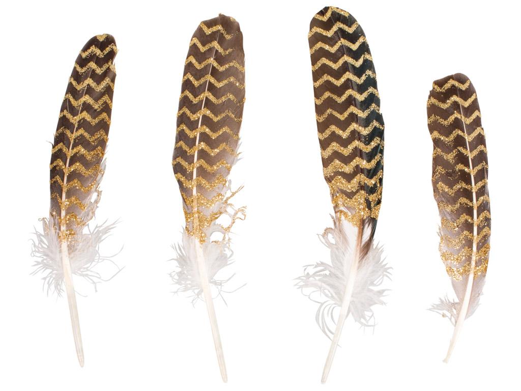Dekoratyvinė plunksna Rayher su žėrinčia spauda 17-19cm 4vnt. auksinė