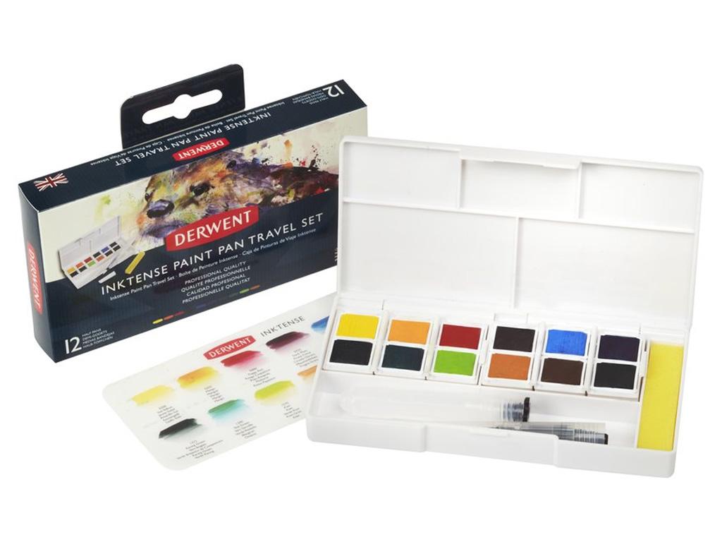 Akvareliniai dažai Inktense Travel Set #01 12x1/2 kubelių+teptukas su indeliu vandeniui