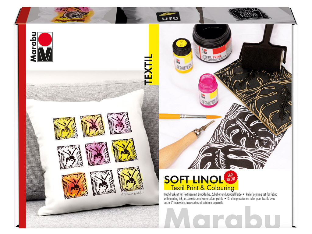 Lino printing set for fabric Marabu