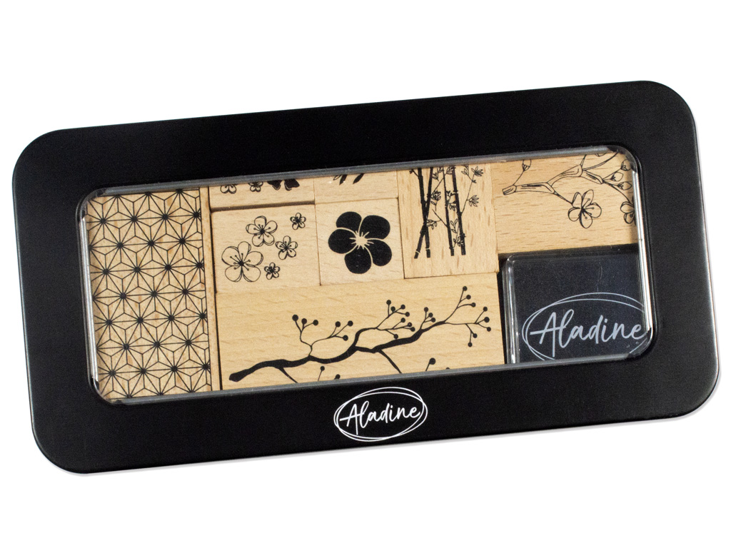 Medinis antspaudas Aladine 8vnt. Flowers + pagalvėlė antspaudams juoda metalinė dėžutė
