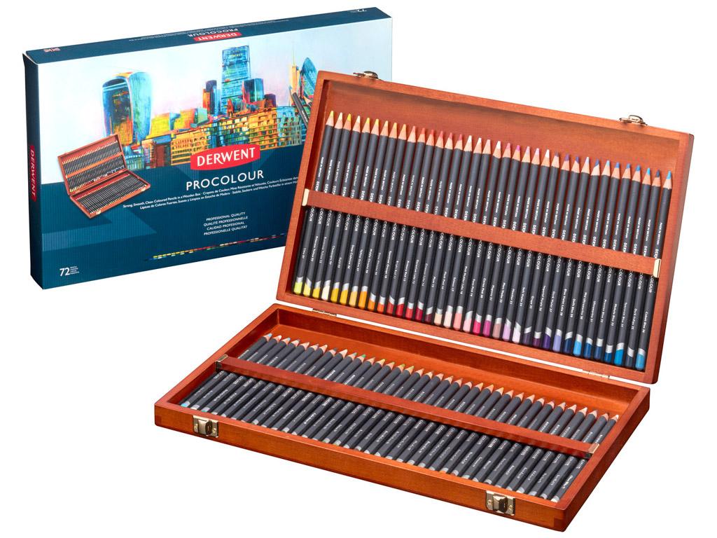 Spalvotas pieštukas Derwent Procolour 72vnt. medinė dėžutė