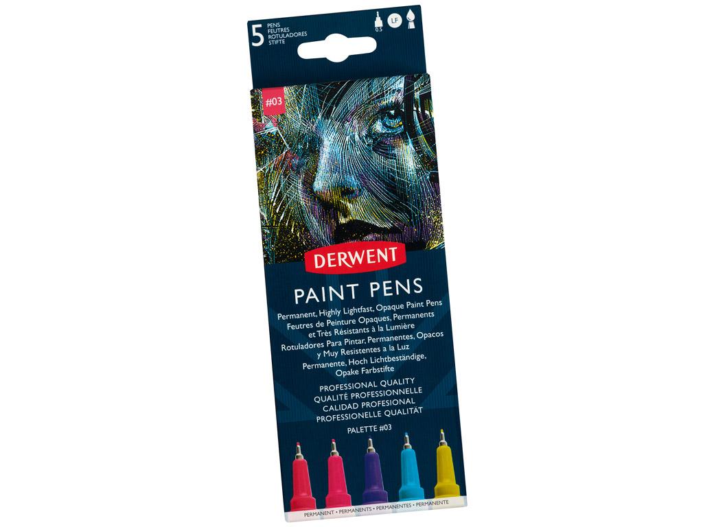 Marker Derwent Paint Pen 5tk Palette 3