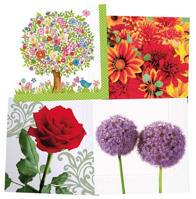 Servetėlės Colourful Life 33x33cm 20vnt. gėlės